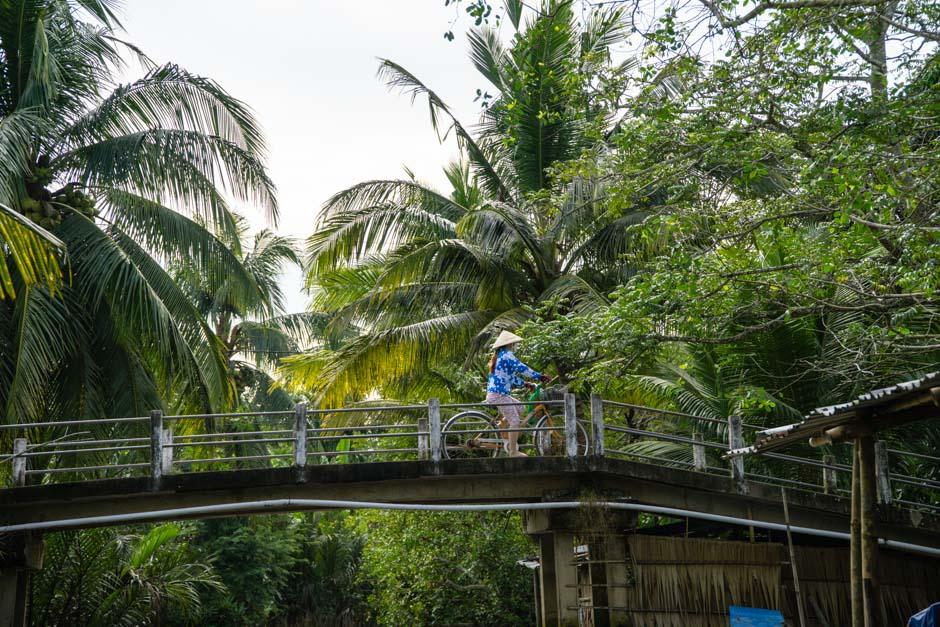 Brücke mit Fahrradfaher