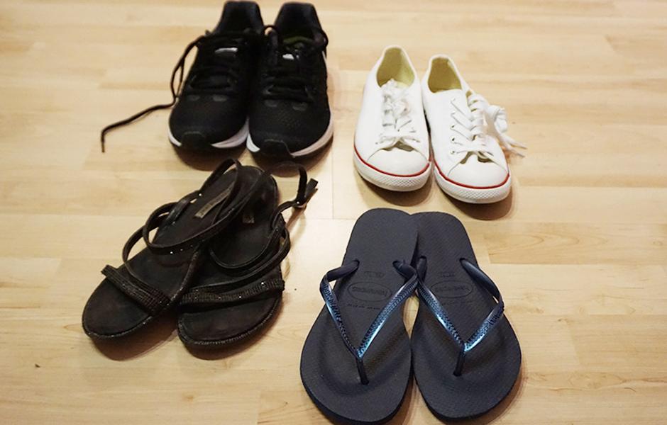 Schuhe fuer eine Weltreise in der Packliste