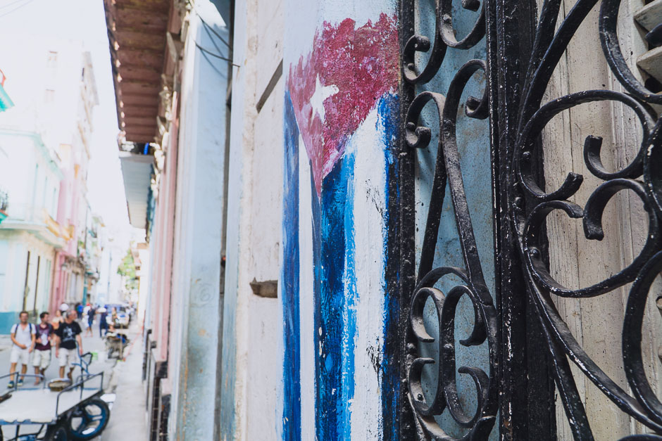 Streetart in Havanna mit Kubafahne