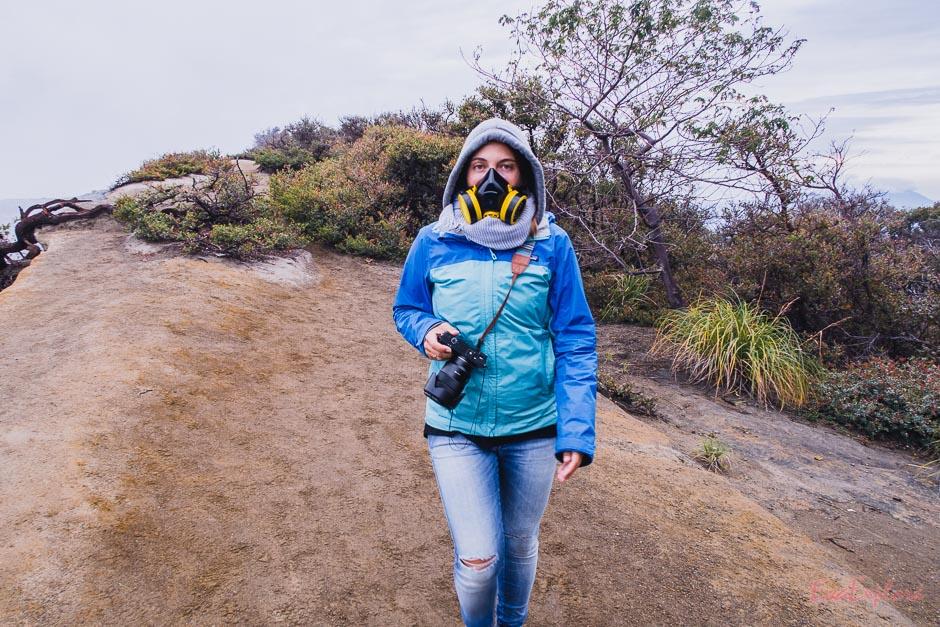 Gasmaske gegen die giftigen Dämpfe