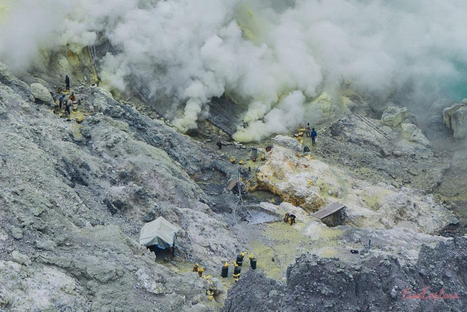 Schwefelmine auf dem Mt Ijen
