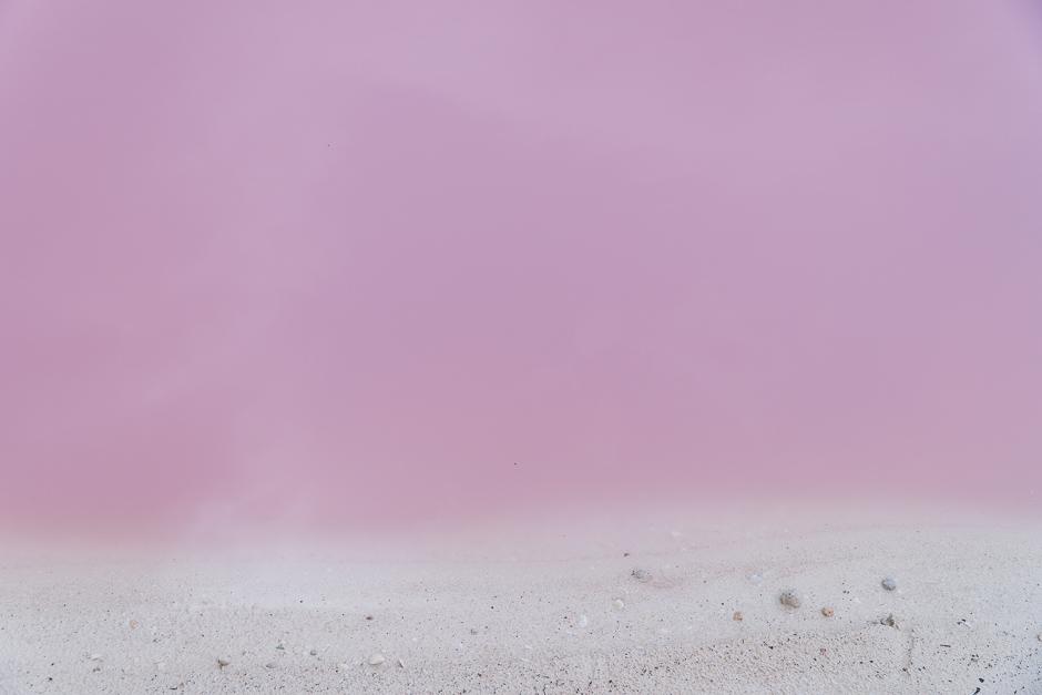 Pinker See und Strand