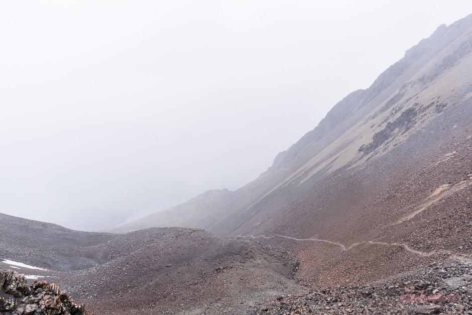 Schneesturm beim Abstieg