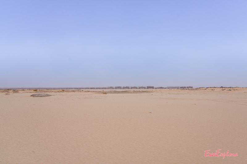 Eisenbahnwaggons im Sand